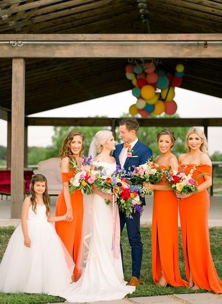 2488811131f15 Orange Off Shoulder Sheath Long Bridesmaid Dresses, AB4055 – AlineBridal