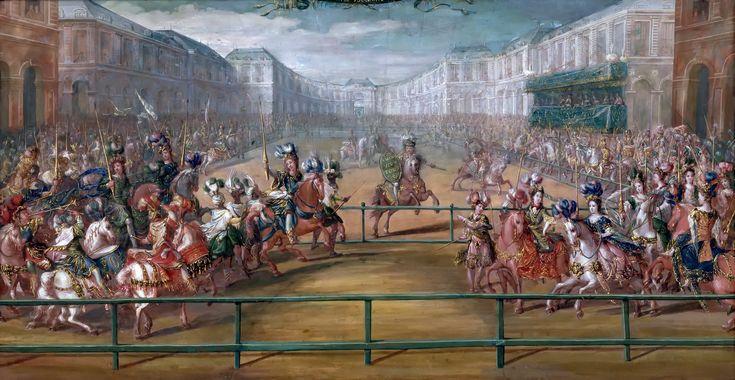 Карусель 1685 года.Версаль.В 60-е г.XVIIв. балет.пост-ки часто были составл.больш. придвор.празднеств,даваемых королем для св.окружения (образц.городс. празднества стала Карусель 1662 г,к-рой король ознамен.рождение наследника и начало самостоят.правления).Первое празднество-«Забавы волшебного острова» в 1664 г.Это версальс. празднество одновр.было развлеч-ем для избр.придворных(600 приглаш.),кор. занятием,данью уважения дамам(здесь их три:королева- мать,королева и фаворитка, Луиза де…