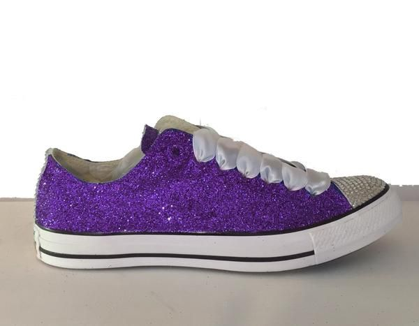 15 OFF With Code PINNED15 Womens Glitter Crystals Converse All Stars Plum Deep Purple Wedding