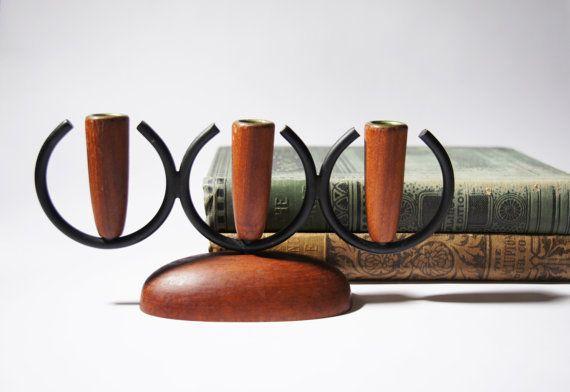 Mid Century Teak Candle Holders -Candelabras Danish 1960s Modern