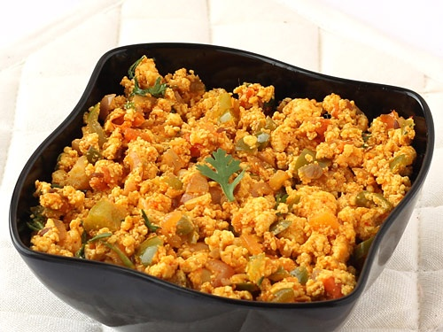 Paneer Bhurji - Crumbled Paneer with Tomato, Onion, Capsicum and Indian Spices