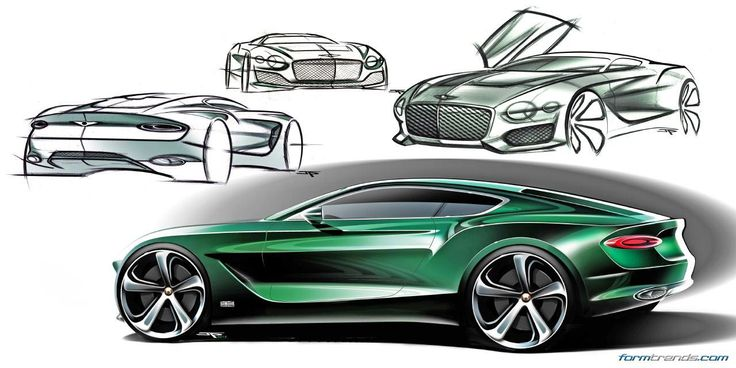 Bentley EXP10 Speed6 concept sketches by John Paul Gregory