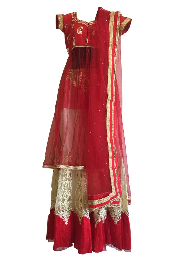 Contemporary red and White lehenga