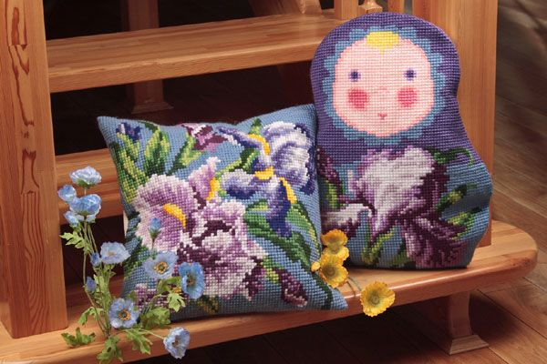 Collection d'Art:5.049 - Baba Iris - Easy to stitch large count cross stitch cushion kit.