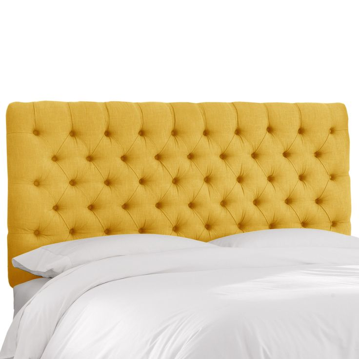 Skyline Furniture Linen French Yellow Tufted Headboard (Twin)