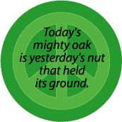 Today's Mighty Oak is Yesterday's Nut that Held Its Ground--FUNNY PEACE QUOTE BUTTON