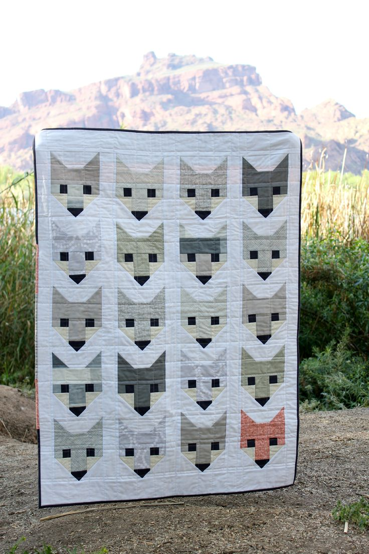 grey fancy fox quilt