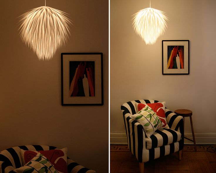 Paper Starburst Pendant Light- Chandeliers & DIY Lamps You Can Create From Everyday Objects