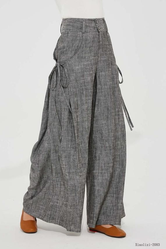fc3902fee3 gray linen pants linen palazzo pants wide leg pant womens | Etsy | plazo in  2019 | Pants, Linen pants, Wide leg linen pants