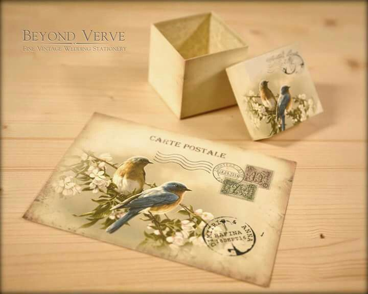 Romantic lovebirds carte postale postcard wedding invitation with matching favor box -  Vintage Wedding Stationery - Beyond Verve