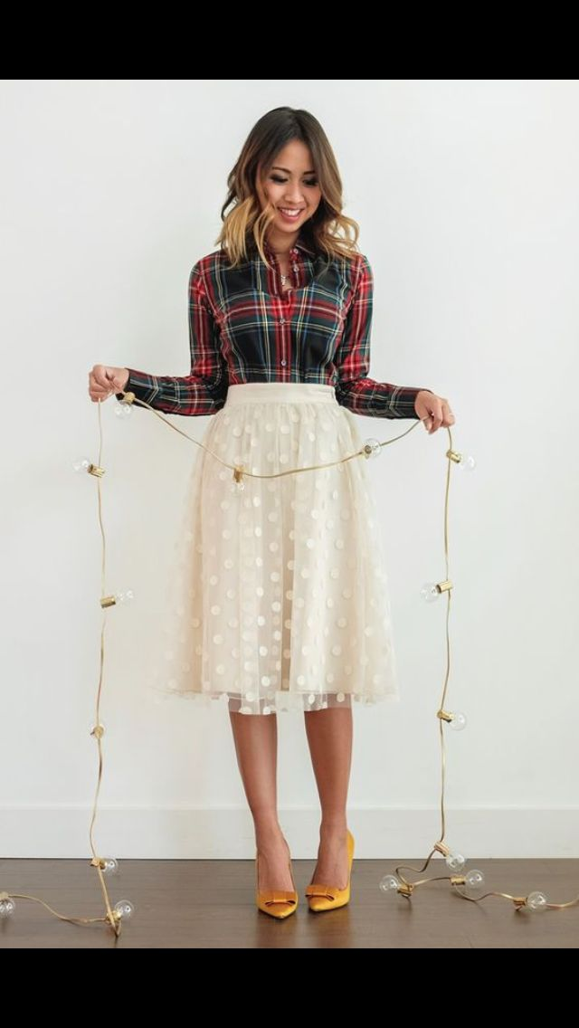 Plaid and lace. Holiday fashion. Cream lace knee length skirt and plaid button up. Winter fashion