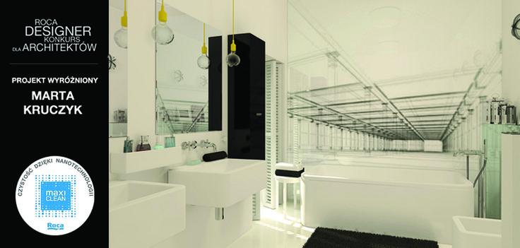 wyróżnienie w konkursie Roca Designer przyznano Marcie Kruczyk. Nadesłany przez panią Martę projekt zachwycił pomysłem. Motywem przewodnim aranżacji tej przestrzeni łazienkowej stało się lustrzane odbicie. Nie zabrakło, również dbałości o detale i funkcjonalność.