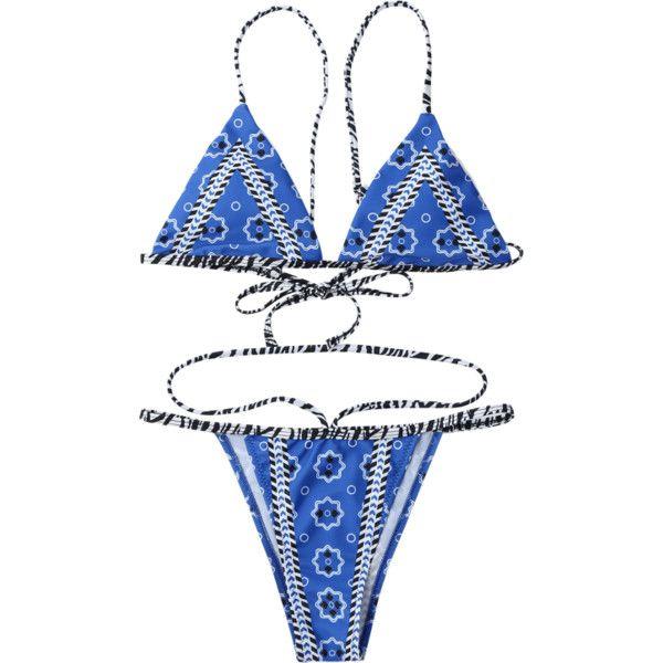 Plunge Padded Tanga String Bikini Set ($12) ❤ liked on Polyvore featuring swimwear, bikinis, thong bikini swimwear, brazilian bikini, brazilian bottom bikini, blue bikini and gstring bikini