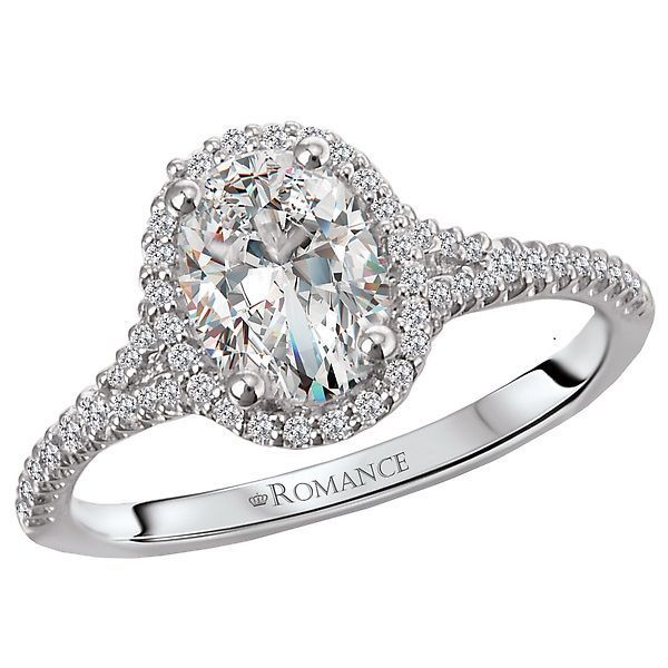 18kt White Gold 1 5 Ctw Diamond Oval Halo Mounting For 3 4 Ct Oval Split Shank Engagement Rings Bridal Ring Sets Oval Diamond