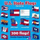 US State Flags - Clip Art Set  GREAT VALUE: 200 flag images! $  This is a set of clip art flags for the 50 states of the USA.  Each flag comes in fou...