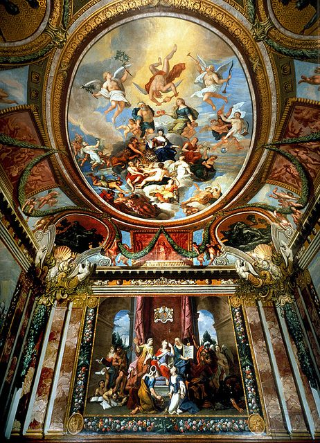 Queen's drawing room ceiling at Hampton Court. England by The Department for Culture, via Flickr