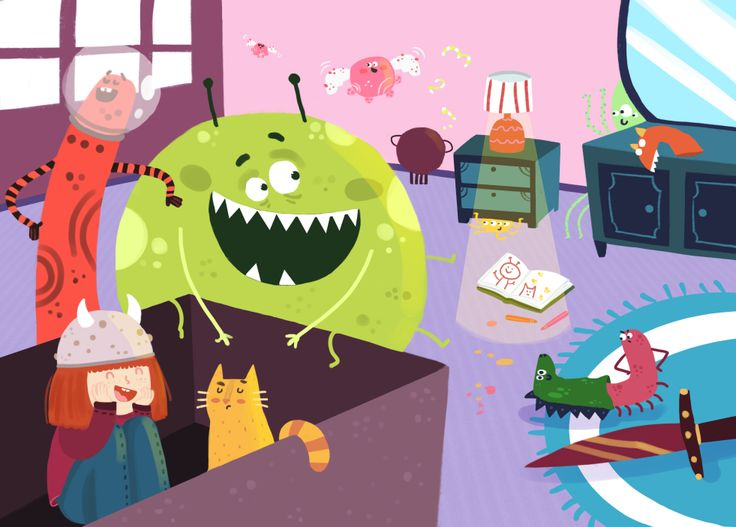 Children illustration-Monsters in my room