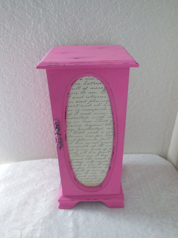 Distressed Pink Tall Jewelry Box by GiftsByIrisWithLove on Etsy