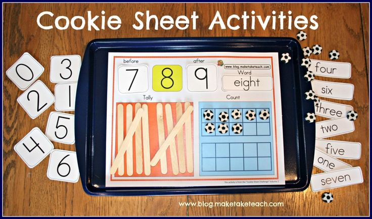 Cookie Sheet Activities for early math.  Free sample templates. Great for centers!
