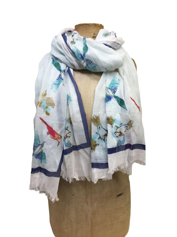 Hem&Edge scarf - birds in flight with border #white #brights 100% cotton 100x180cm #creamwhites #scarf #accessories #onebutton #hemandedge Click to see more products from the One Button shop.