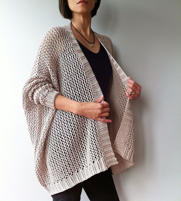 Free Japanese Knitting Patterns English : Angelina - easy trendy cardigan (knit) pattern by Vicky Chan Knit patterns,...