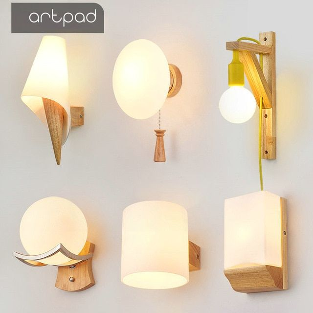 Artpad Creative Modern Led Indoor Wall Lamps E27 Base Glass Lampshade Drawing Room Corridor Hotel Bedroo Wall Lamp Interior Wall Mounted Bedside Lamp Wall Lamp