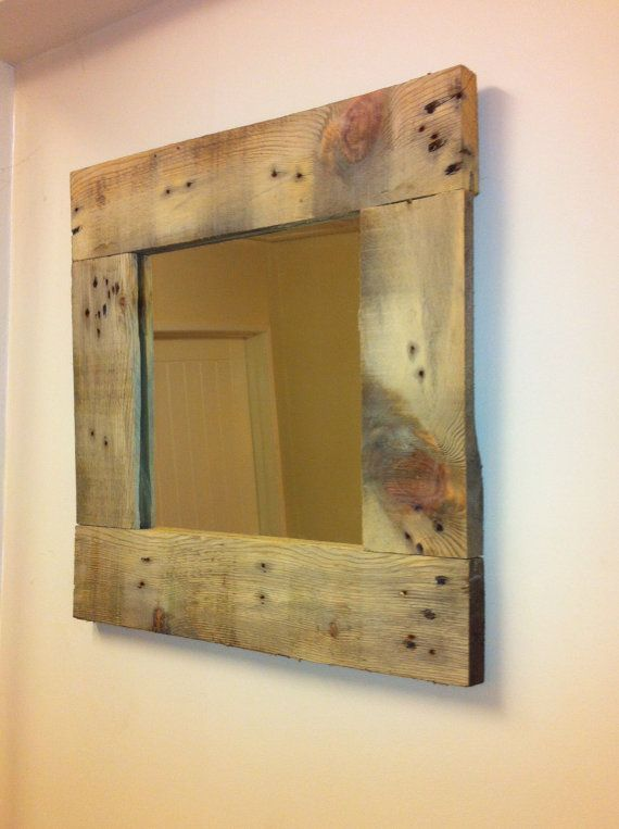 Custom hand crafted mirror - Rustic wooden framed mirror from reclaimed wood - beach house, cottage decor  Can do custom pieces. In York