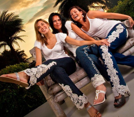 Lace Embroidered Jean, great for an anniversary #anniversary #gift #wedding $95