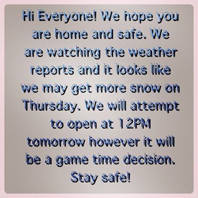 Hi Everyone! We hope you are home and safe. We are watching the weather reports and it looks like we may get more snow on Thursday. We will attempt to open at 12PM tomorrow however it will be a game time decision. Stay safe! #dragonflyhealth