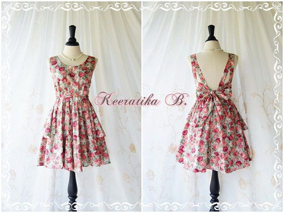 A Party Dress  V Shape Floral Dresses by LovelyMelodyClothing, $46.30
