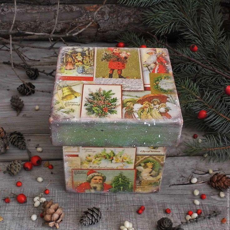 """Купить """"Рождественские мотивы"""" Короб из Ольхи - деревенский стиль, винтаж, Короб деревянный, короб для специй"""