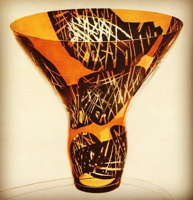 Czech painted glass vase by Vladimir Kopecky, student of professor Josef Kaplicky, in 1961