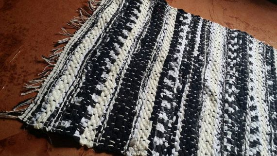 Black and white handwoven Rag rug Floor runner by JessieMayDesigns