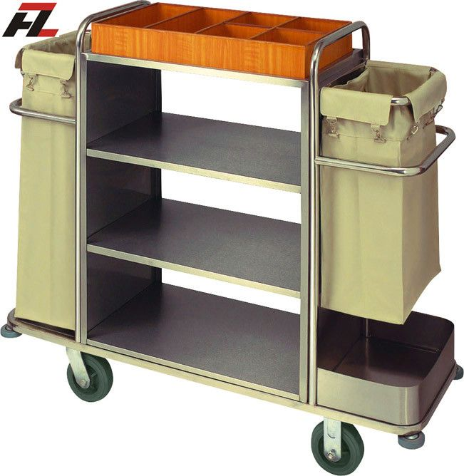 Hotel Metal Housekeeping Trolley with Extra Storage Area on Top