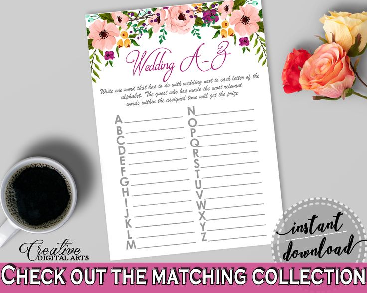 Wedding A-Z Game in Watercolor Flowers Bridal Shower White And Pink Theme, abc bridal, watercolor shower, prints, digital print - 9GOY4 #bridalshower #bride-to-be #bridetobe