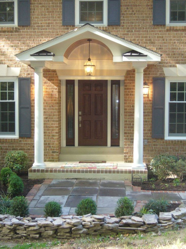 Exterior Interior Lovely Front Porch Design Cream Brick Exterior Brown Wooden Single Front Door Brick Front Porch Staircase Charming Ideas: Mesmerizing ... : door porch - Pezcame.Com