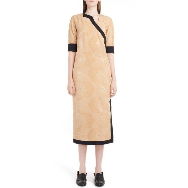 Women's Loewe Kimono Wrap Dress (38.597.870 VND) ❤ liked on Polyvore featuring dresses, gold, beige midi dress, midi cocktail dress, midi dress, beige cocktail dress and fitted dresses