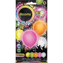 ILLOOMs LED ballonnen - 5 stuks - roze/oranje