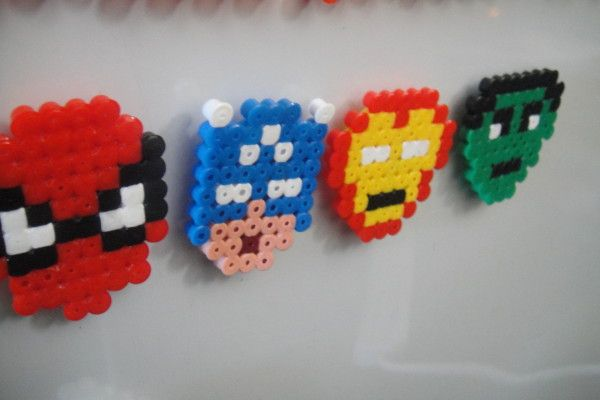 Hama super heros - perfect for fridge magnets or use mini beads to make superhero jewellery