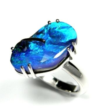 Solid, Australian Boulder Opal Ring in K18 WG Setting. All 'original' ... www.gemstory.com.au
