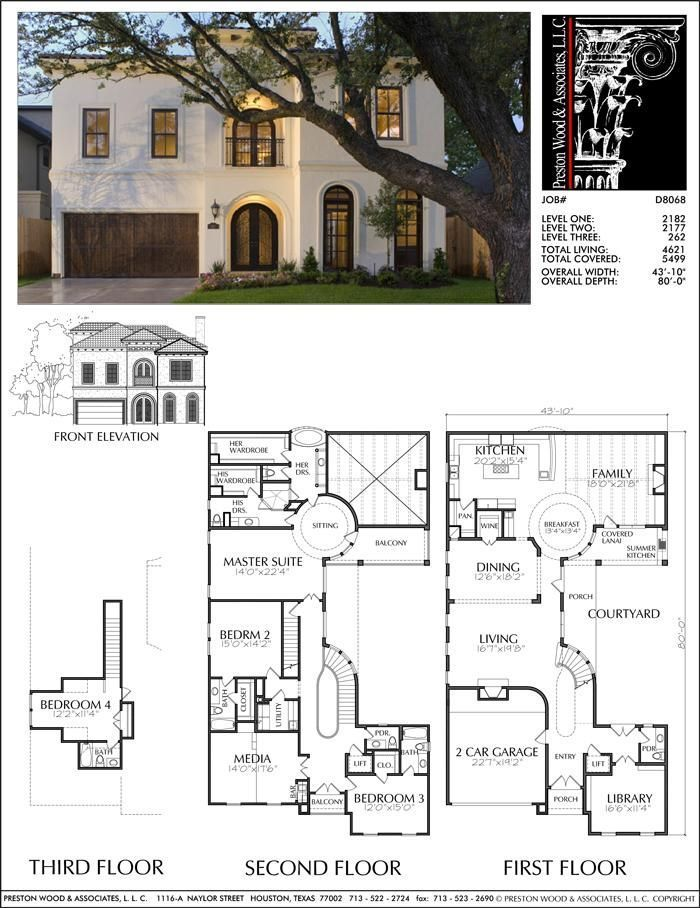 Unique Two Story House Plan Floor Plans For Large 2 Story Homes Desi Preston Wood Associa Two Story House Plans Courtyard House Plans Spanish Style Homes