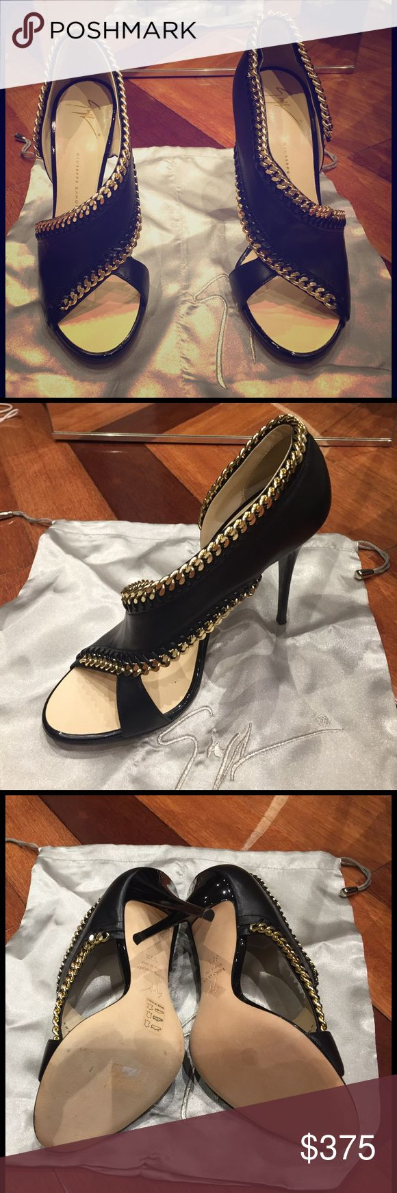 BRAND NEW Giuseppe Zanotti heels Size 38.5. Brand new, with box and dust bag. Purchased from Saks! Beautiful black and gold heels. Giuseppe Zanotti Shoes Heels