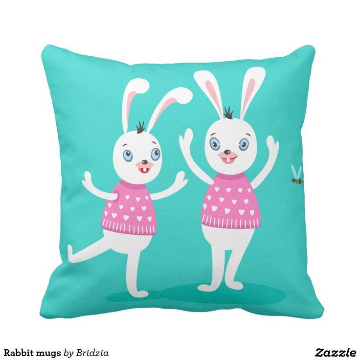 Rabbit mugs throw pillow