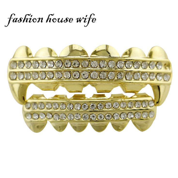Fashion House Wife Punk Gold Silver Fangs Teeth Grillz 2 Row Rhinestone Teeth Caps Vampire Halloween Jewelry NL0042