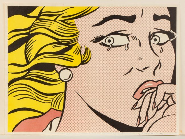 """Roy Lichtenstein (American, 1923-1997) """"Crying Girl"""" 1963 offset lithograph 18 x 24"""": lot 162 via Cottone Auctions"""