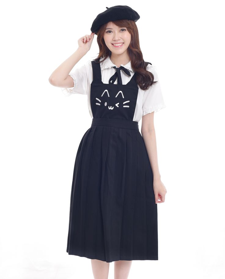 $23. Shop cute kawaii cat face embroidery black dungaree pinafore dress. Jual dress atau rok overall kawaii bordir wajah kucing lucu. Indonesia, ship wordwide! #pinafore #dungaree #overalls #cat #neko #dress #harajuku #asian #fashion #style #look