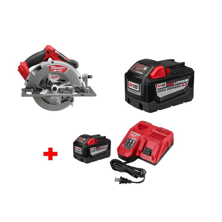 Milwaukee M18 Fuel 18-Volt Brushless Lithium-Ion 7-1/4 in. Cordless Circular Saw and 9.0Ah Battery with 9.0Ah Starter Kit