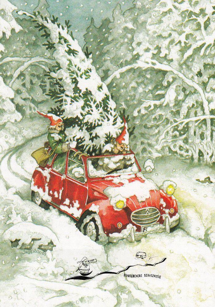 Details zu Postkarte/ Postcard: Inge Löök – Frauen im Auto mit Weihnachtsbaum / Nr. 25 – Lene Hennig