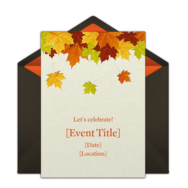 "One of our favorite free Fall party invitations, ""Fallen Leaves."" Easily personalize and send via email for a harvest festival, apple picking, or even a dinner party!"