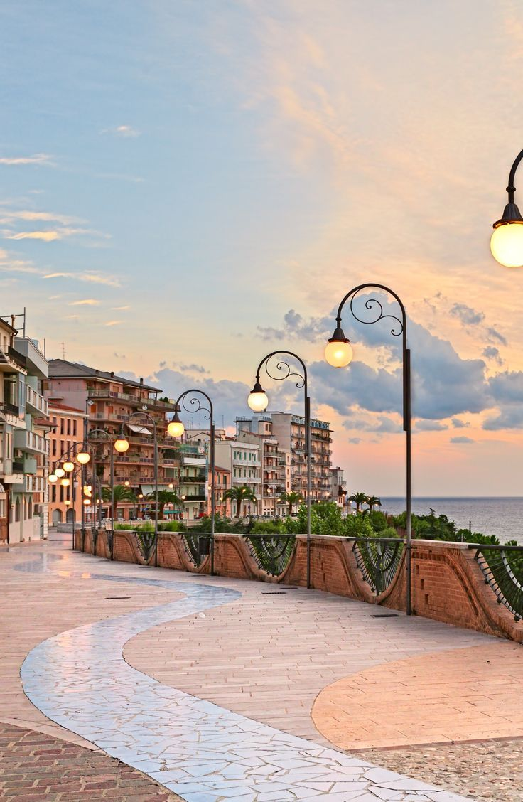 Photo of Beautiful terrace with street lamp on the Adriatic sea, Abruzzo. #Travel #Ita… – street